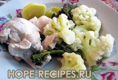 Молодые овощи с курицей в пароварке