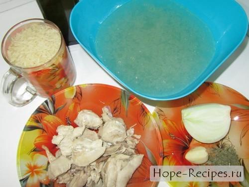 Ингридиенты для приготовления ризотто с курицей