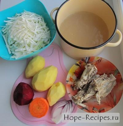 Продукты для приготовления вкусного борща