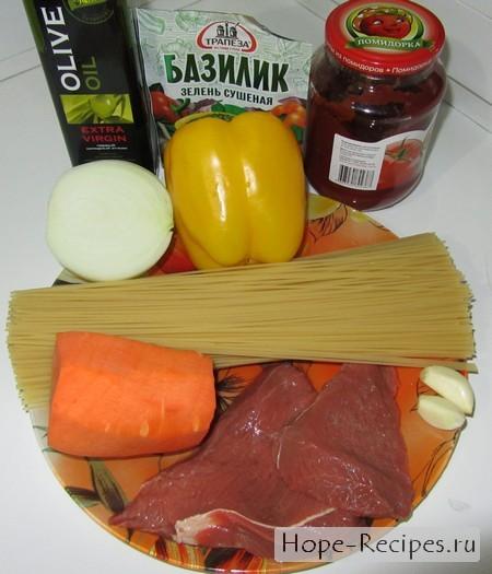 Продукты для приготовления пасты с соусом