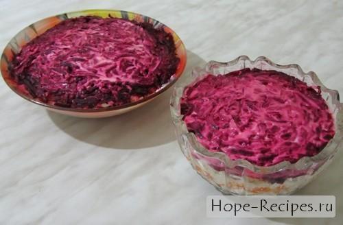 Пошаговый фото рецепт салата Сельдь под шубой