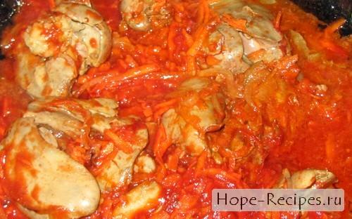 Нежная печень и томатный соус
