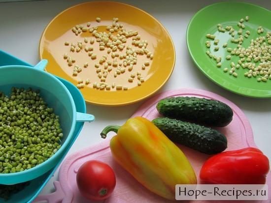 Готовим салат с овощами и проростками