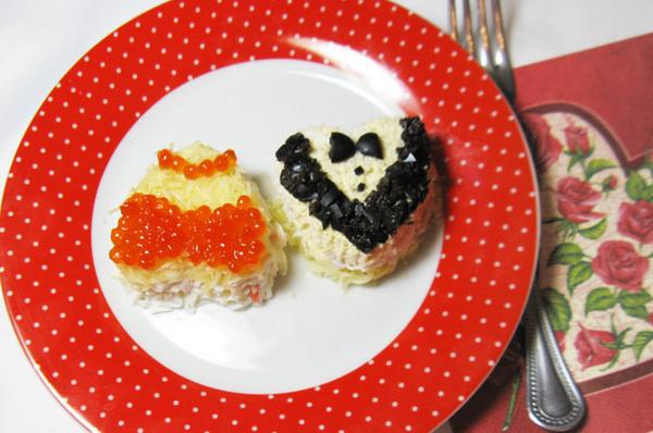 Нежный салат с креветкаи на день валентина