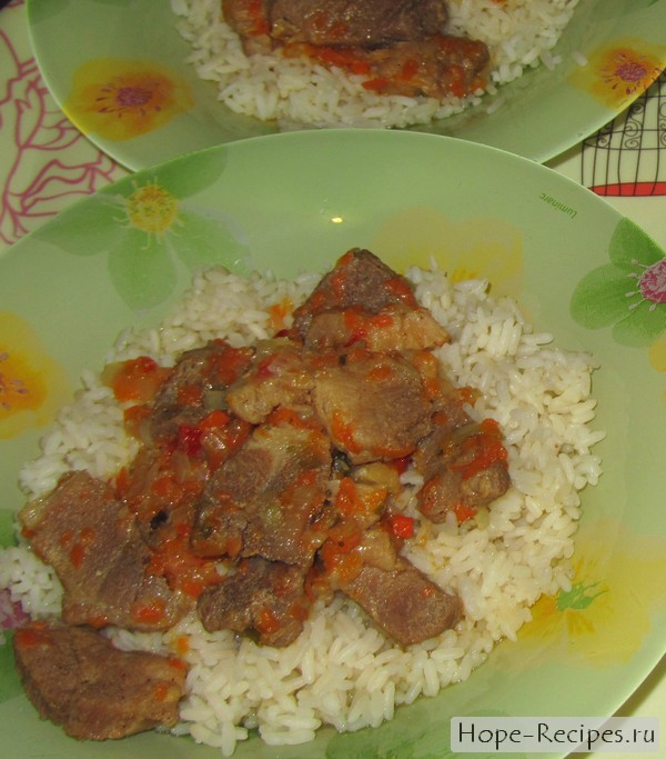 Рис мясной подливкой рецепт фото