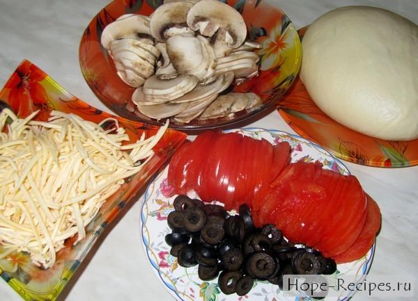 Начинка для пиццы с грибами и маслинами