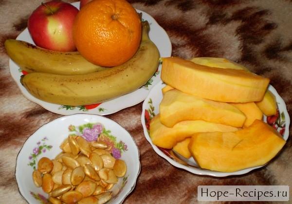 Вкусный салат из тыквы с фруктами