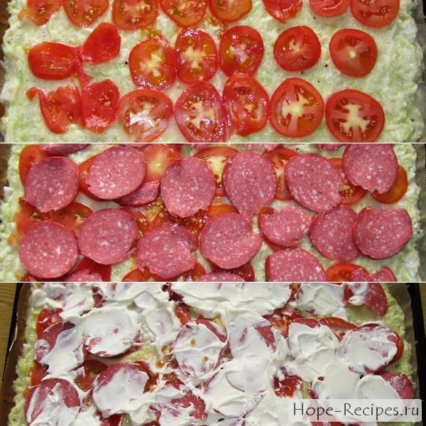 Пицца из кабачков с сыром и помидорами