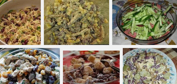Вкусный салат с фасолью и сухариками