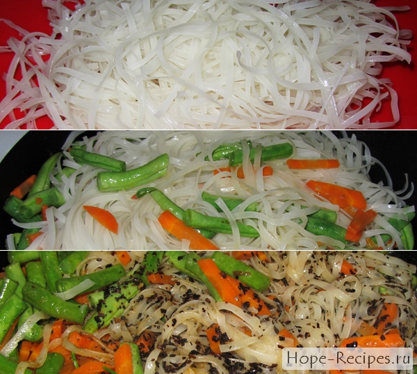Жареная рисовая лапша с овощами