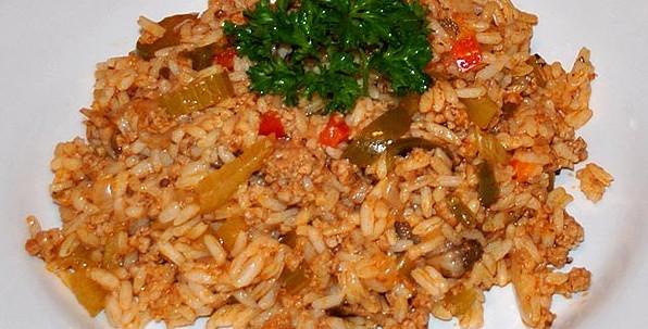 Рис с помидорами и фаршем