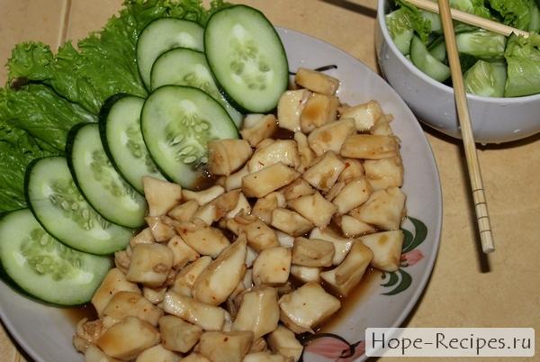 Наш тайский ужин: тушеное филе гигантского осьминога