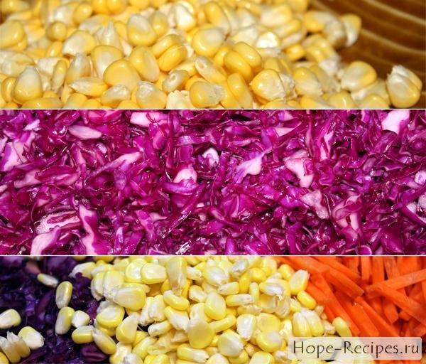 Как приготовить постный салат с капустой и кукурузой
