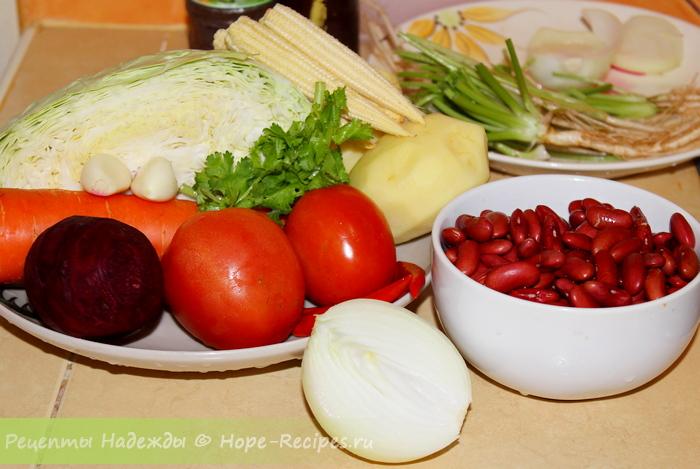 Какие продукты нужны для приготовления постного борща