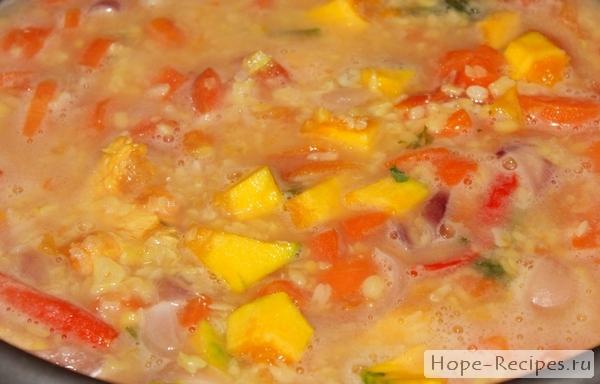 Рецепт постного супа-пюре с тыквой и машем