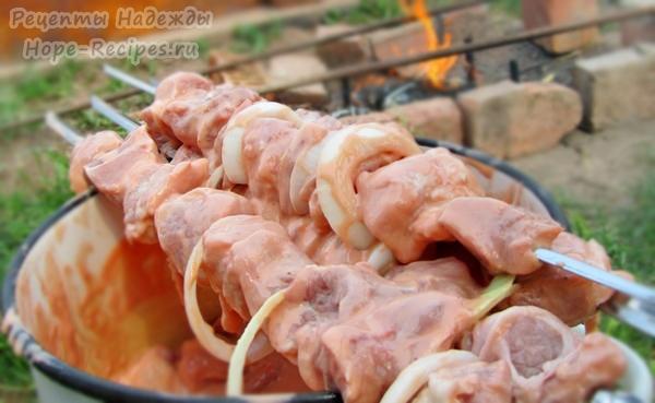 Мясо замариновалось, кусочки нанизаны на шампура, шашлык готов к жарке!
