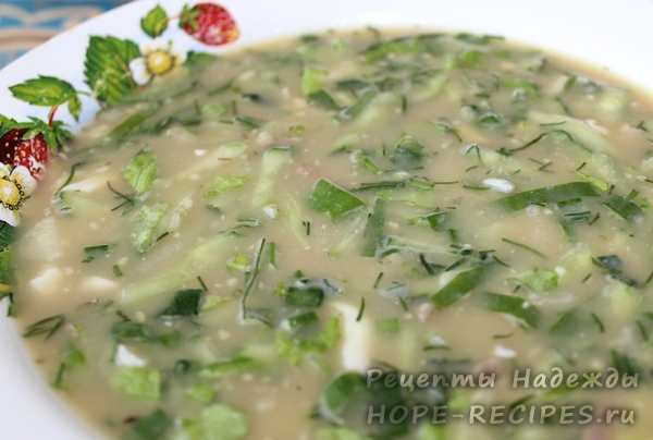 Рецепт мясной окрошки на квасе
