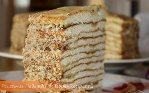 Аппетитный кусочек домашнего медового тортика!