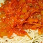 Паста из спагетти с говядиной
