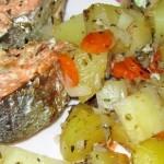 Нерка запеченная с овощами в рукаве