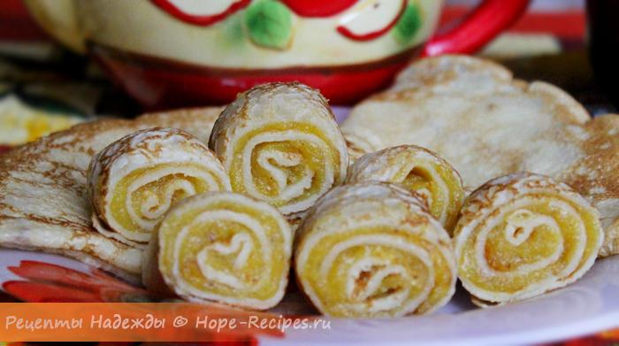 Десертные блинчики со сладким тыквенным кремом