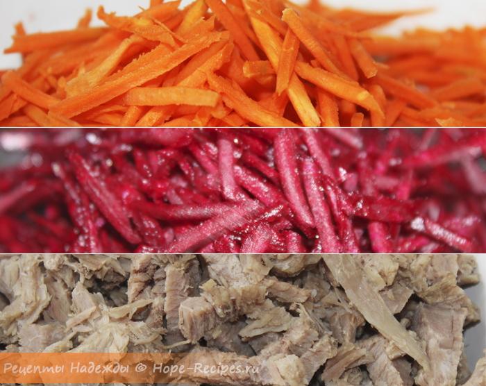 Овощи и мясо для Радужного салата