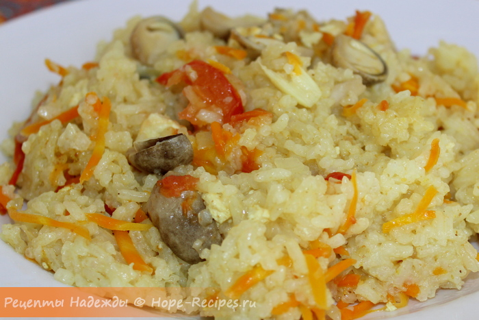 Рецепт вкусного вегетарианского плова с грибами