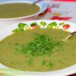 Летний легкий суп-пюре из зеленого горошка со шпинатом